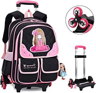 Children's Shoulders Backpack Nylon Waterproof Breathable School Bag Removable Trolley Pulley Staircase Bag