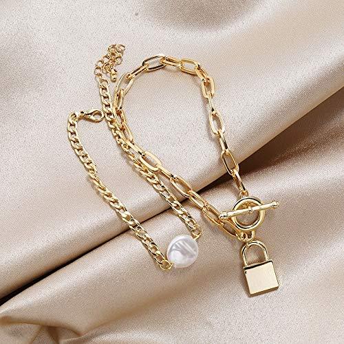 weichuang 2Pcs/Set Gold Color Lock Chains Simulated Pearl Bracelet Bangles 2021 Punk Padlock Bracelets For Women Party bracelet for women (Metal Color : 2PCS Set Gold)