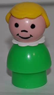 Vintage Little People School Girl (Blond Plastic Hair, White Neckerchief, & Green Plastic Base) (Peg Style) - Replacement Figure - Classic Fisher Price Collectible Figures - Loose Out Of Package & Print (OOP) - Zoo Circus Ark Pet Castle