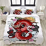 Juego de Funda nórdica, Libro de Colorear de Tatuaje de dragón Dibujado a Mano, Juego de Cama Decorativo Colorido de 3 Piezas con 2 Fundas de Almohada