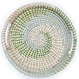Ann Lee Design Round Serving Seagrass Trays (Green Blue Teal Vortex, Seagrass)
