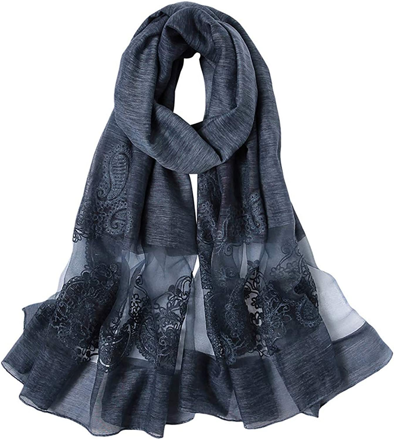 195  85 cm Women's Spring and Autumn New Solid color Embroidered Silk Long Scarf, Small Fresh Silk Scarf Mixed Scarf Female