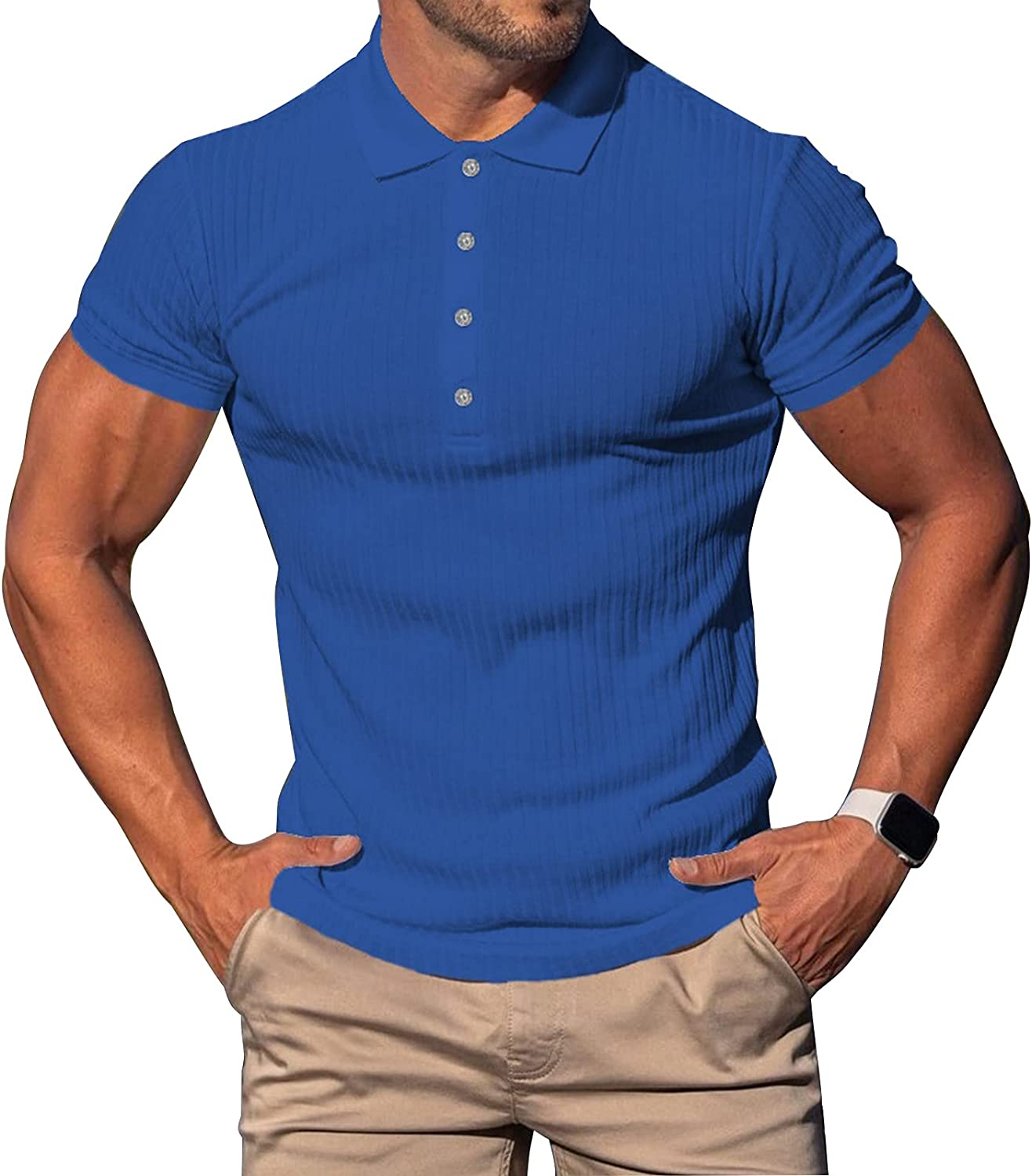 Mens Fashion Casual Workout Polo Shirts Gym Sport Cotton Short Sleeve Striped Pullover Tops