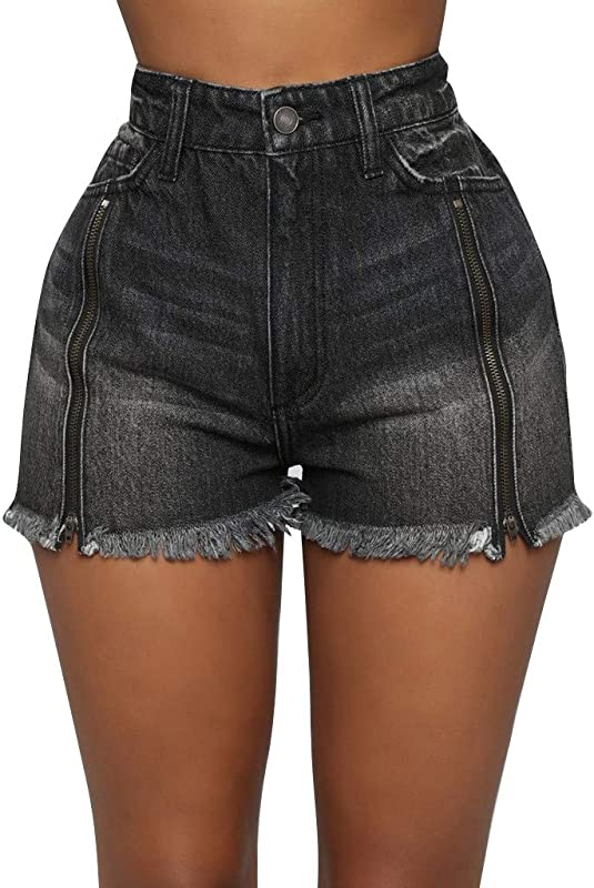 TANLANG Women S Denim Distressed Shorts Frayed Mid Rise For Women Casual Jeans Pocket Zip Button Sexy Denim Shorts Pants