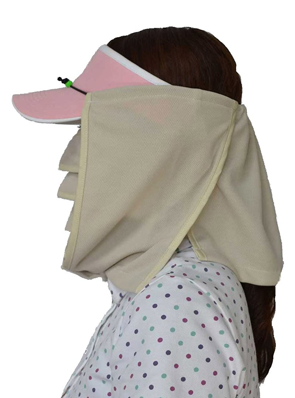 弁護士意見受け入れるUVマスク?マモルーノ?とUV帽子カバー?スズシーノ?のセット(ベージュ)【太陽からの直射光や照り返し.散乱光の紫外線対策や熱射病、熱中症対策に最適の組合せです.】