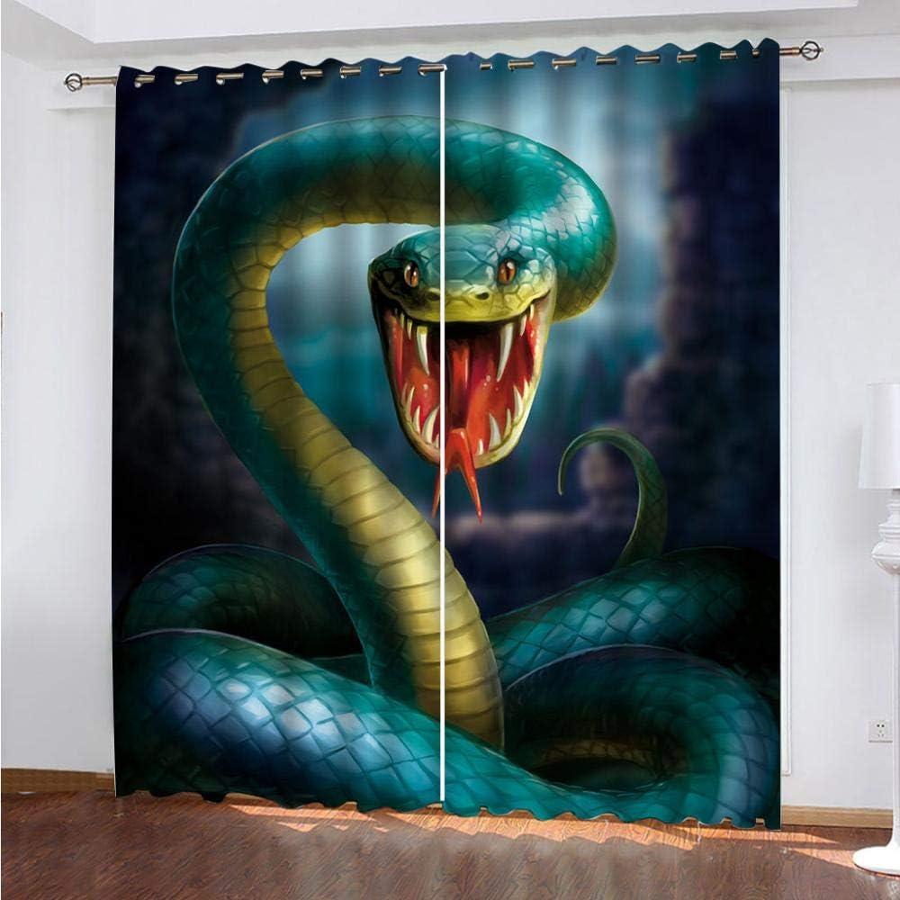 SDSONIU Blackout Curtains Max Spring new work 77% OFF Kids Bedroom Green 3D Snake Animal