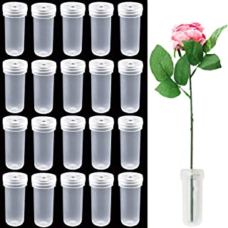 Faxco 100 Pack 1.6'' Clear Plastic Flower Vials with Caps, Floral Water Tubes for Keeping Flowers Fresh