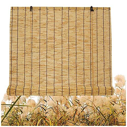 Cortina de caña natural, persianas de bambú para patio al aire libre, persianas romanas, ventana enrollable, con elevador, tejido a mano, sombra solar, personalizable, para exterior, interior