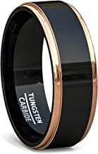 Duke Collections 8mm Tungsten Black Rings for Men in Durable Tungsten Mens Wedding Bands or Engagement Ring Two Tone Rose Gold/Blue/Silver Step Edge Polished Finish Comfort Fit
