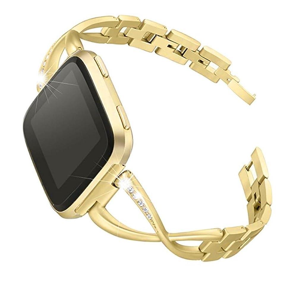 ベスト動理解するOutsta Fitbit versa BK 腕時計バンド 高級合金クリスタル ステンレススチール リストバンド バンド アクセサリー スマートウォッチブレスレットバンド レディース メンズ