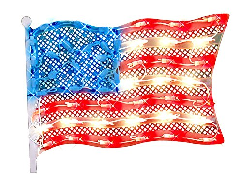 IMPACT 14.5 Red and Blue Lighted Patriotic Fourth of July American Flag Window Silhouette Decoration