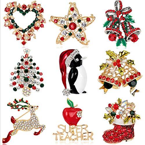ZHISHENG - Broche navideño de 12 broches de cristal multicolor con diamantes de imitación, incluye forma de corazón, estrella, campana, Navidad, pingüino, reno, calcetín y broche de superprofesor