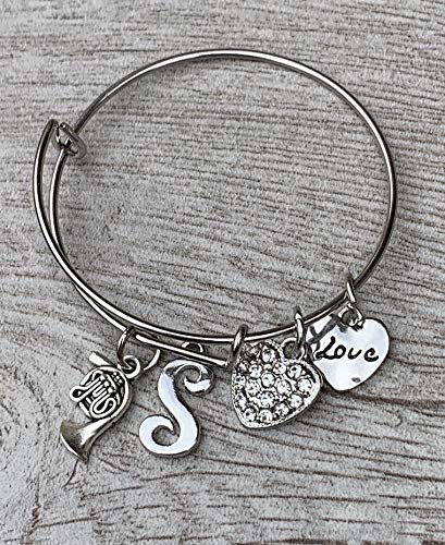 Personalized French Horn Excellence Love Charm Initial - Bracelet Bangle Mu New sales