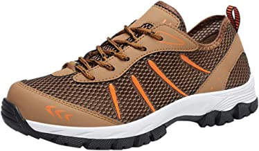 NUWFOR Fashion Men's Breathable Non-Slip Outdoor Walking Shoes Sports Hiking Shoes(Brown,8.5 M US Length:10