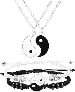 Best Friend Necklaces Bracelets for 2 Matching Yin Yang Adjustable Cord Bracelet for Bff Friendship Relationship Boyfriend...