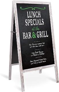 "LUVODI Wooden A-Frame Chalkboard Sign Free Standing Double-Sided Chalkboard Easel Large Sturdy Rustic Sidewalk Sandwich Blackboard Menu Display Board for Bars Cafes Restaurants Wedding 29.1"" x 17.3"""