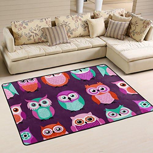 LORVIES Owls Birds Purple Pattern Area Rug Carpet Non Slip Floor Mat Doormats for Living Room product image