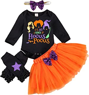 Newborn Baby Girl Haloween Clothes Boo Print Romper Tops+Lace Tulle Shorts+Headband+Pumpkin Leg Warmers 4PCS Outfit Set