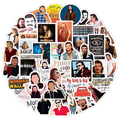 Morgan Wallen Country Sänger Aufkleber für Teenager, Erwachsene, Laptop, Auto, Wasserflaschen, Handy, Fahrrad, Gepäck, Gitarre, Skateboard, 50 Stück
