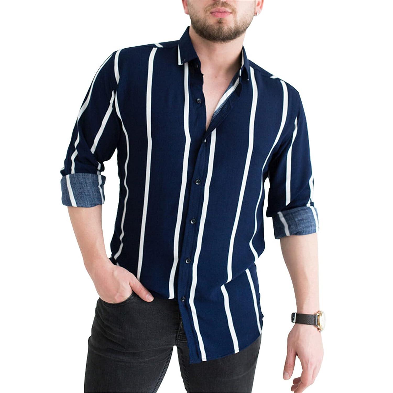 Men's Vertical Striped Shirts Classic Casual Slim Fit Long Sleeve Dress Shirts Button Down Shirt (XXX-Large,Navy blue)