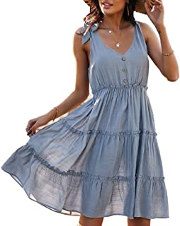 OrientalPort Boemia, abito da donna con scollo a V, senza maniche, mini abito da spiaggia in tinta unita