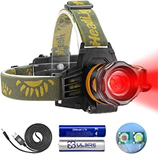 Headlamp Red and White Light, LED Headlamp 4 Modes, Waterproof Super Bright Adjustable Zoomable Flashlight for Hunting, Fi...