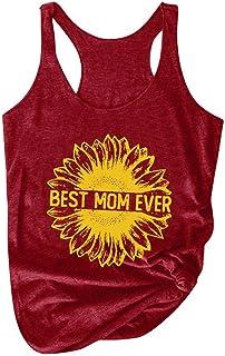 Women Plus Size Tank Tops, Ladies Sunflower Printed Sleeveless Vest T-shirt Blouse Tunic Top