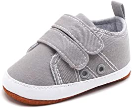 Delebao Baby Boys Girls Canvas Toddler Sneaker Anti-Slip Leather First Walker Shoes