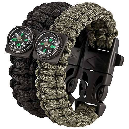 Hunter & Husky Survival KIT - Paracord Armband 2er Set - Feuerstarter, Pfeife & Kompass -...