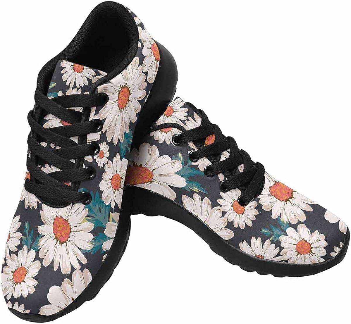 InterestPrint Womens Sneakers Lightweight Comfort Sneakers for Running Blooming Pink Flowers