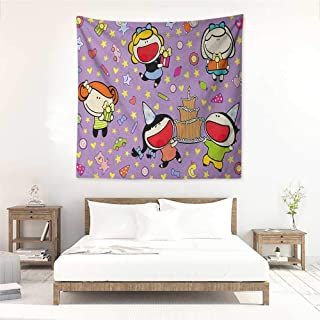Willsd Kids Birthday high-end Quality Tapestry Happy Children Tasty Cake Presents Bears Stars on Purple Colored Backdrop Occlusion Cloth Painting 55W x 55L INCH Multicolor