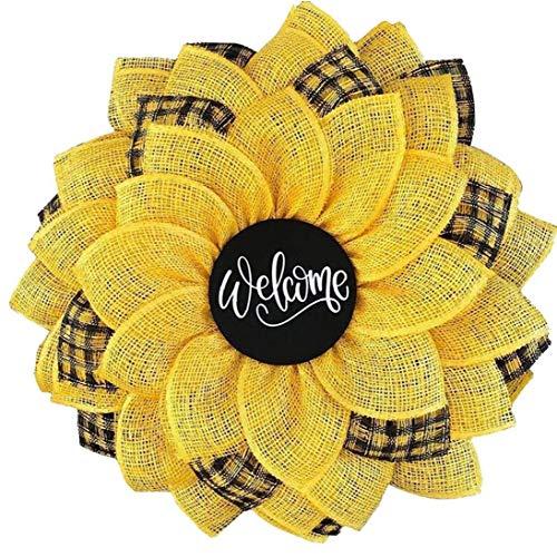Bee Solros Krans Artificial Sunflower Front Door hängande Halsband Ornament Krans Bee Day Spring Krans lycklig Honey Bee Decor Garland väggdekor påskpynt Style6
