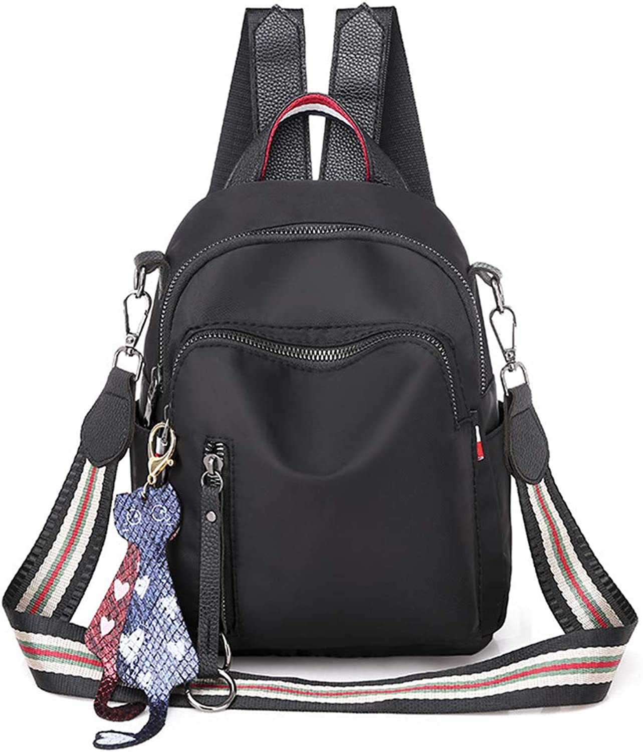 Shoulder Bag Oxford Cloth Canvas Small Backpack, Black Casual Practical Simple