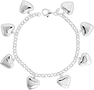 Sterling Silver Puffy Hearts Bracelet for Women 5/8 inch Dangling Charms 7 inches long