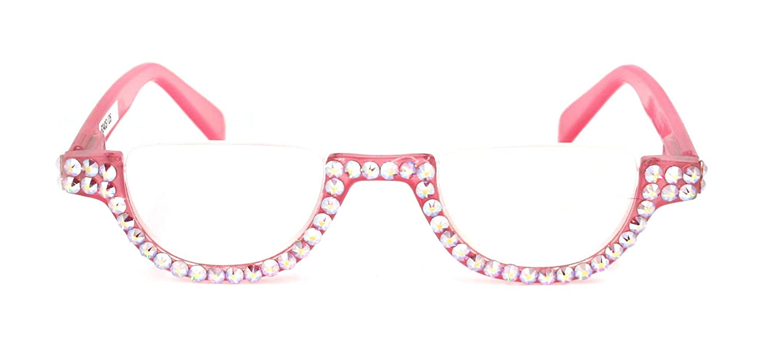 The Half Moon Crystal Bling Women Reading with Glasses New arrival Adorned discount