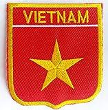 Fahnen Flagge Aufnäher Bügelbilder Patches für Kleidung Jacken Jeans Bekleidung Hosen Aufbügler Patches Aufnäher Applikation zum aufbügeln Vietnam 6 x 7 cm