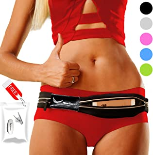 [Voted #1 Running Belt] Runners Fanny Pack for iPhone 6, 7, X, XR, 8, 8 Plus & Android Samsung. No Bounce, Waterproof, Dual Pocket, Fitness & Travel Belt! Sleekest, Most Durable in The World!