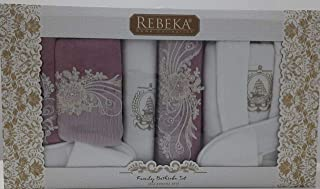 Bathrobe Rebeka Family 14 Pcs Set-turkey terry 450gsm light purple & White