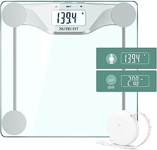 مقیاس سنجش وزن حمام دیجیتال BMI ، مقیاس اندازه گیری دقیق وزن ، نمایشگر نور پس زمینه بزرگ و فناوری گام به گام ، 400 پوند ، اندازه گیری نوار بدن (BMI)
