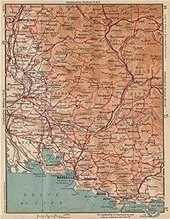 Provence WEST. Marseille Lubéron Avignon Arles Vaucluse Bouches-Du-Rhône - 1954 - Old map - Antique map - Vintage map - Bouches-du-Rhône maps