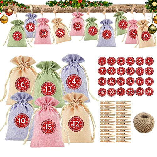 Sunshine smile 24 adventskalender zum befüllen,Weihnachten Adventskalender,adventskalender säckchen,Weihnachten Geschenksäckchen,Weihnachtskalender DIY,DIY Adventskalender zum,Weihnachten Stoffbeutel