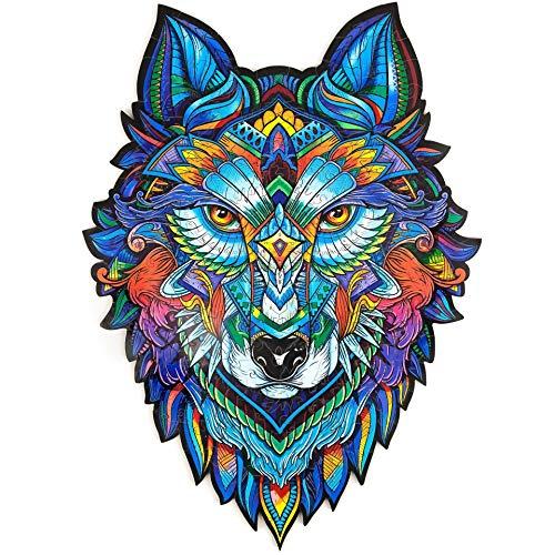 AMYGG Holzpuzzle, Einzigartige Form Puzzleteile Erwachsene und Kinder Charmant Wolf