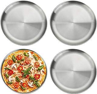 14inch Yehapp Plaque de cuisson ronde en aluminium antiadh/ésive de pizza de plateau de pizza de casserole de pizza en m/étal pour le four 6//8//10//12