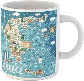 Semtomn Funny Coffee Mug Vector Stylized Map of Greece Travel Illustration with Greek Landmarks 11 Oz Ceramic Coffee Mugs Tea Cup Best Gift Or Souvenir