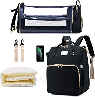 Diaper Bag Backpack with Extendable Folding Crib, Nappy Bag with Changing Station, Portable Waterproof Mummy Bag Backpack,...