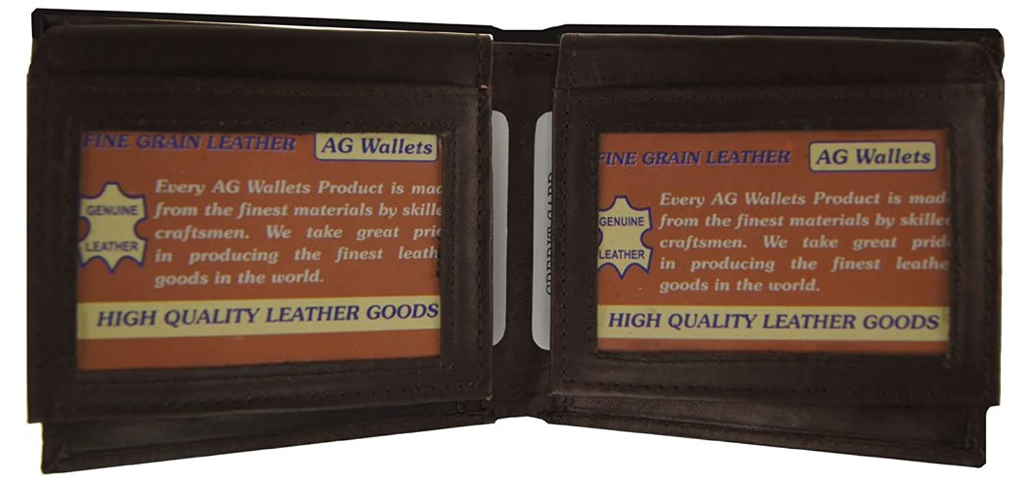 AG Wallets Mens Cowhide Leather Bifold with Double Flip-up 2 Id Windows (Brown)