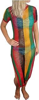 Crystal Ladies Stripe Strech Rasta Maxi Dress Cover up Cotton String Mesh Fishnet Side Splits