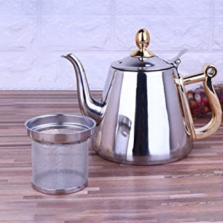 Ebestus - Tetera grande de acero inoxidable con infusores para té suelto, olla de cocción de inducción, tetera para té, café, agua, color plateado