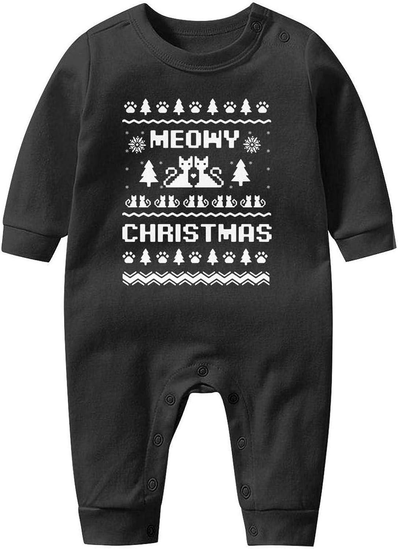 LHSCVJSEKL Meowy Christmas Baby Onesie Organic Cotton Cool Soft Kid Long Sleeve Onesies