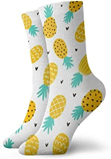 Pineapple And Hearts Background Men's Cotton Cushion Crew Socks